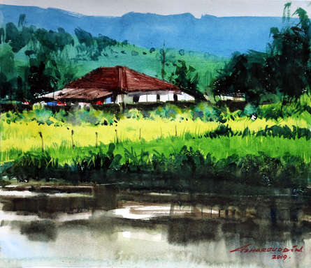Landscape Watercolor Art Painting title Untitled 11 by artist Azharuuddin Inamdar