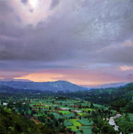 Landscape Oil Art Painting title Untitled 12 by artist Azharuuddin Inamdar