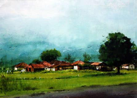 Landscape Gouache Art Painting title Untitled 14 by artist Azharuuddin Inamdar