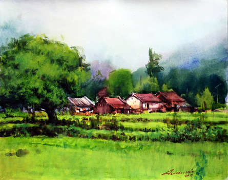 Landscape Watercolor Art Painting title Untitled 3 by artist Azharuuddin Inamdar