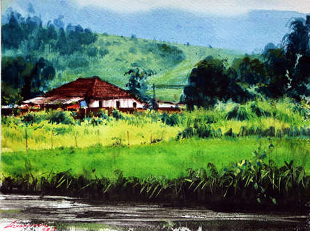 Landscape Watercolor Art Painting title Untitled 4 by artist Azharuuddin Inamdar