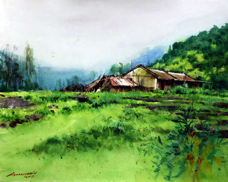 Landscape Watercolor Art Painting title Untitled 5 by artist Azharuuddin Inamdar