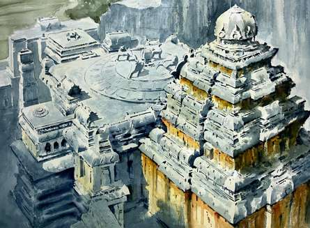 Religious Watercolor Art Painting title Ellora 1 by artist Yojana Dehankar