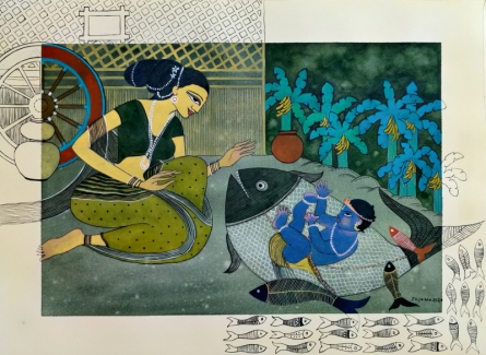 Religious Watercolor Art Painting title Rati by artist Yojana Dehankar