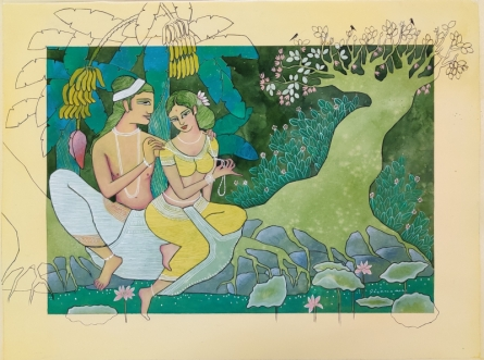 Religious Watercolor Art Painting title Vasant Ritu by artist Yojana Dehankar
