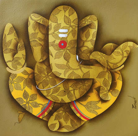 Religious Acrylic Art Painting title Ganesha by artist Paras Parmar