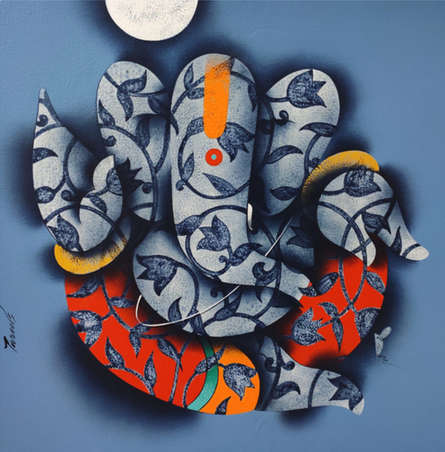 Religious Acrylic Art Painting title Ganesha 2 by artist Paras Parmar
