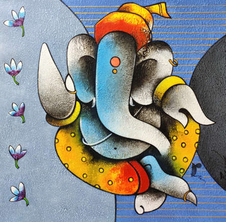Religious Acrylic Art Painting title Ganesha 6 by artist Paras Parmar