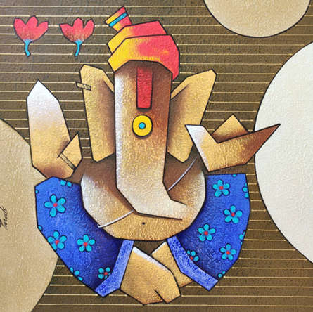 Religious Acrylic Art Painting title Ganesha 8 by artist Paras Parmar