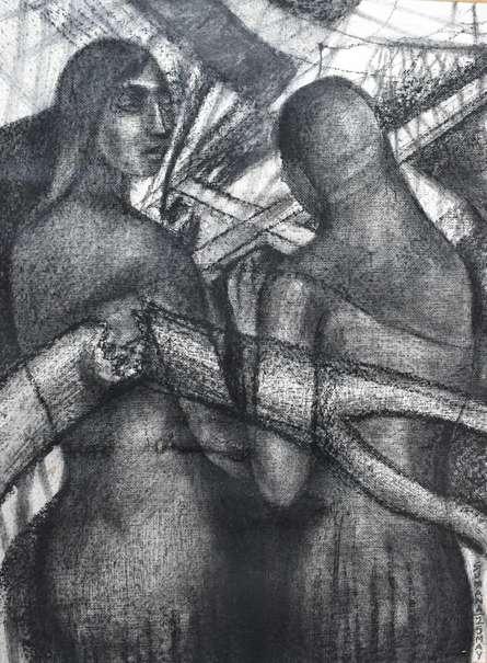 Figurative Dry-pastel Art Drawing title Amphan Blackout Kolkata by artist Sumana Nath De