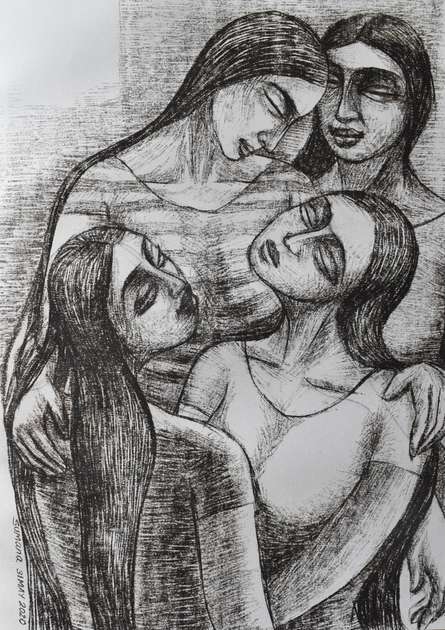 Figurative Dry-pastel Art Drawing title Four Friends by artist Sumana Nath De
