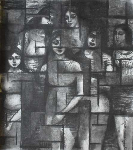 Figurative Dry-pastel Art Drawing title Group Photo by artist Sumana Nath De