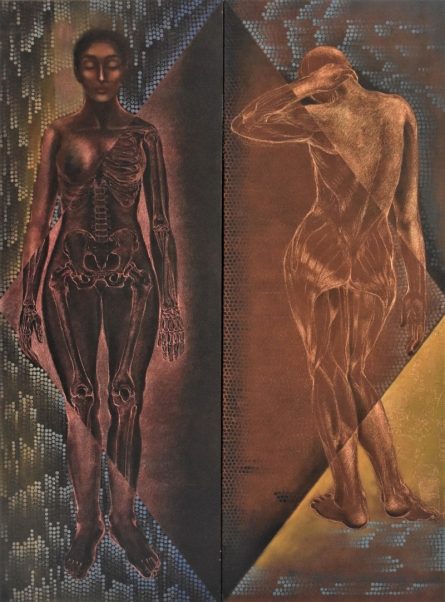 Erotic Oil Art Painting title Human Composition by artist Sumana Nath De