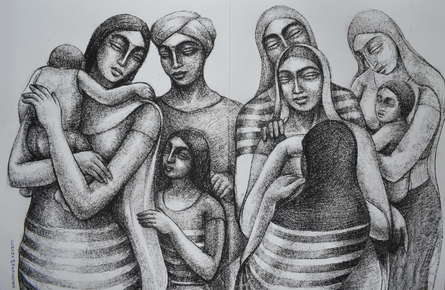 Figurative Dry-pastel Art Drawing title Migrant Workers Waiting To Return Home by artist Sumana Nath De