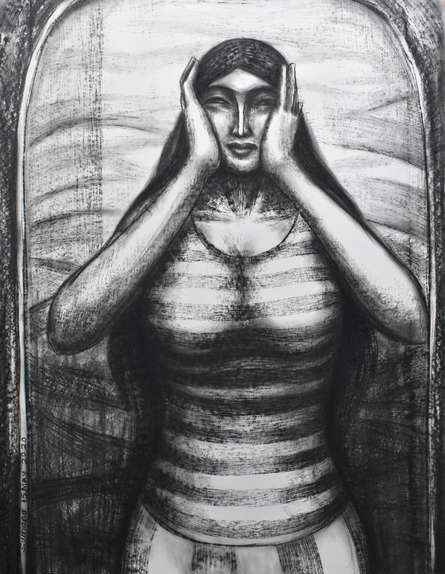 Figurative Dry-pastel Art Drawing title Scream Inside by artist Sumana Nath De