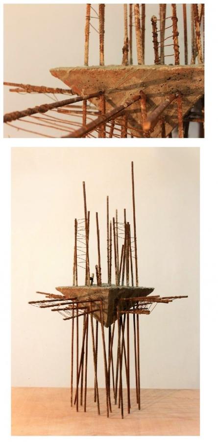 Mixedmedia Sculpture titled 'Work In Progress' by artist Abhishek Salve