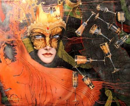 Figurative Mixed-media Art Painting title Its Show Time by artist Kriti K.C. Saxena