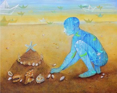 Figurative Acrylic Art Painting title Childhood by artist Pooja Shelke