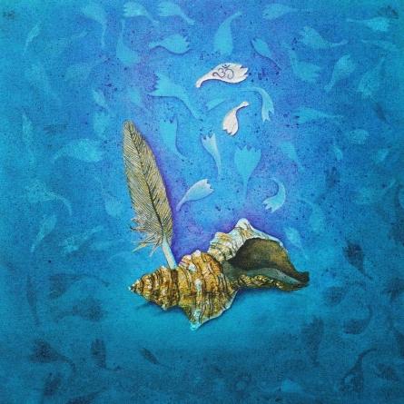 Impressionist Acrylic Art Painting title Shankh by artist Pooja Shelke
