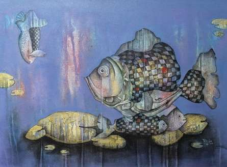 Animals Acrylic Art Painting title Underwater by artist Pooja Shelke