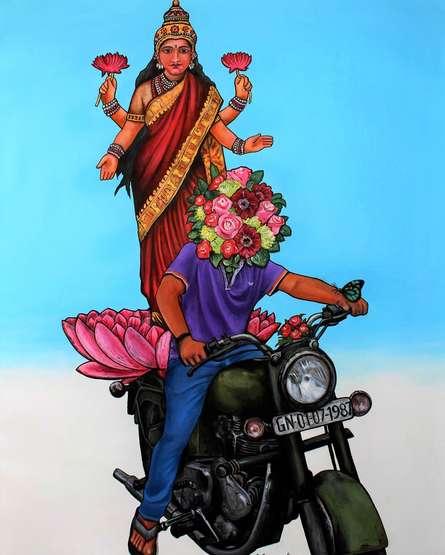 Religious Acrylic Art Painting title Thank You God 2 by artist GanguNaidu Pv