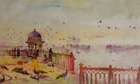 Cityscape Watercolor Art Painting title Heritage 4 by artist Sayajirao Nangare