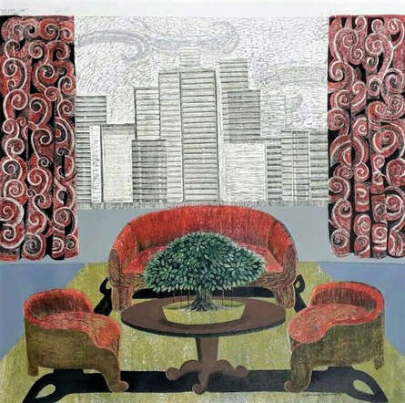 Landscape Mixed-media Art Painting title Greenery by artist Subhamita Sarkar