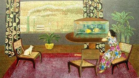 Figurative Mixed-media Art Painting title Relation 1 by artist Subhamita Sarkar