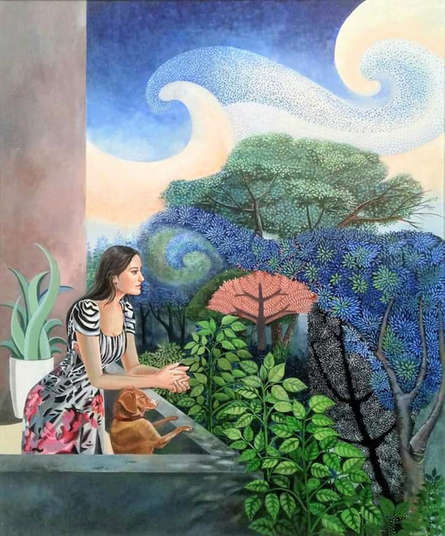 Figurative Acrylic Art Painting title The Relationship by artist Subhamita Sarkar
