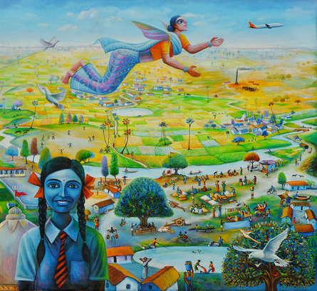 Figurative Acrylic Art Painting title Udaan by artist Sanju Das