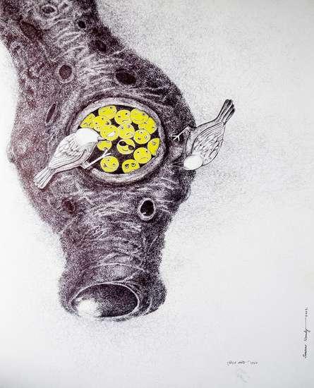 Figurative Pen-ink Art Drawing title Bhalo Basa 1 by artist Sourav Nandy