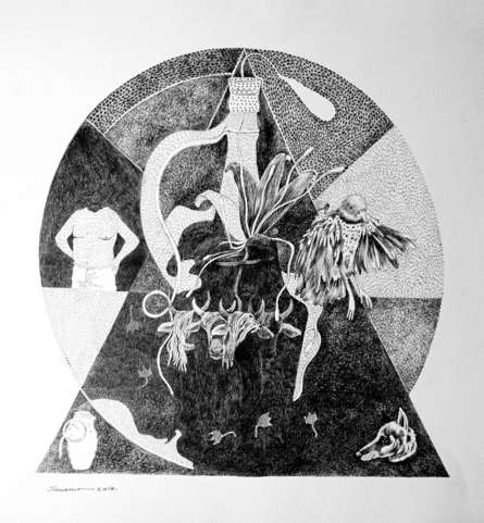 contemporary Pen-ink Art Drawing title Instinct 1 by artist Sourav Nandy