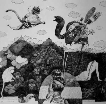 Figurative Pen-ink Art Drawing title Reality Show by artist Sourav Nandy