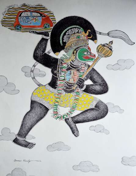 Religious Pen-ink Art Drawing title The Transporter by artist Sourav Nandy