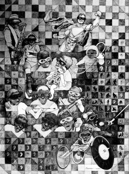 Figurative Pen-ink Art Drawing title We Shall Overcome by artist Sourav Nandy
