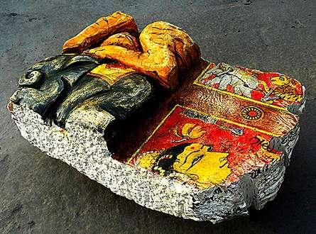 Cast Lime Stone Sculpture titled 'Fragment 27' by artist Tutu Pattnaik