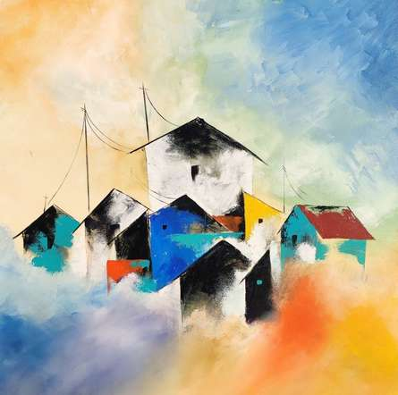 Landscape Acrylic Art Painting title Colony by artist Sanjay Dhawale