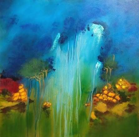 Nature Acrylic Art Painting title Monsoon by artist Sanjay Dhawale