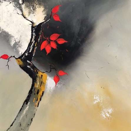 Nature Acrylic Art Painting title Red Leaves by artist Sanjay Dhawale