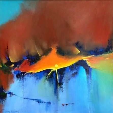 Abstract Acrylic Art Painting title Untitled 1 by artist Sanjay Dhawale