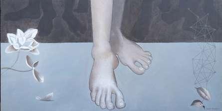 Figurative Acrylic Art Painting title Destination by artist Bibhas Baidya