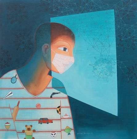 Figurative Acrylic Art Painting title Masked by artist Bibhas Baidya