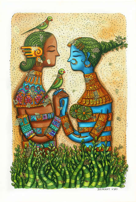 Figurative Mixed-media Art Painting title Immortal Love by artist Dhimant Vyas