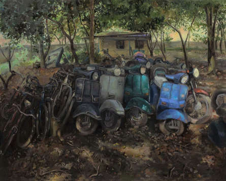 Landscape Oil Art Painting title Abandoned by artist Shraddha Singh