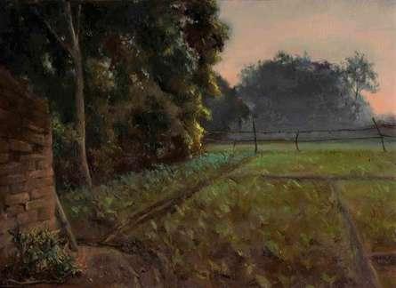 Landscape Oil Art Painting title Farm Mornings by artist Shraddha Singh