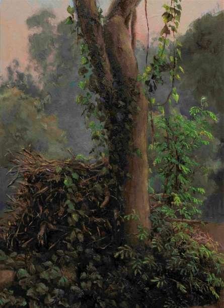 Landscape Oil Art Painting title Green Corner by artist Shraddha Singh