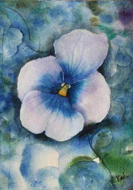 Landscape Watercolor Art Painting title Violet Flower by artist Vivekanand Viswam