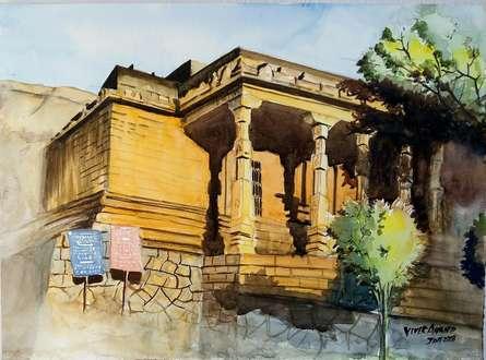 Landscape Watercolor Art Painting title Rock Jain Temple by artist Vivekanand Viswam