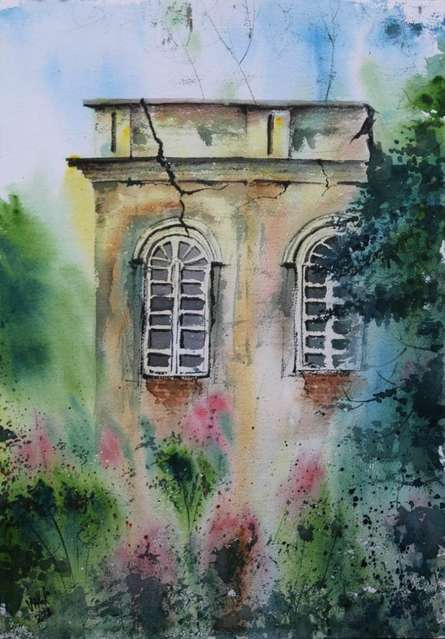 Cityscape Watercolor Art Painting title Old Building by artist Vivekanand Viswam