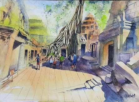 Landscape Watercolor Art Painting title Ta Prohm Temple, Cambodia by artist Vivekanand Viswam